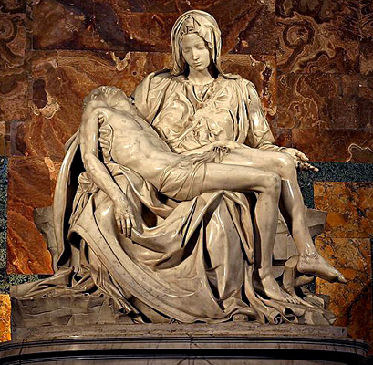 Michelangelo's statue The Pieta of the dead body of Jesus on the lap of his mother Mary