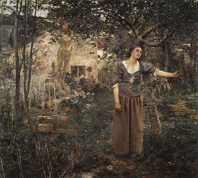Full painting of Joan of Arc with her Voices by Jules Bastien-Lepage