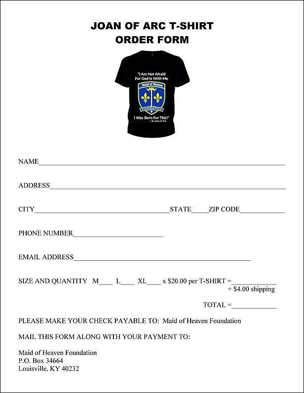 Joan of Arc T-Shirt Order Form