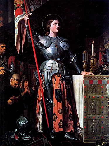 Joan of Arc with her banner at the coronation of Charles VII by Jean Auguste Dominique Ingres