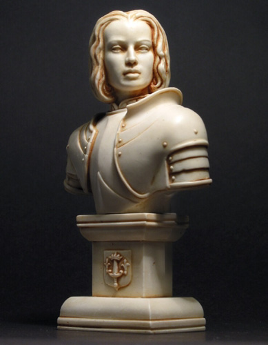 Joan of Arc Bust Statue cast in marble filled resin