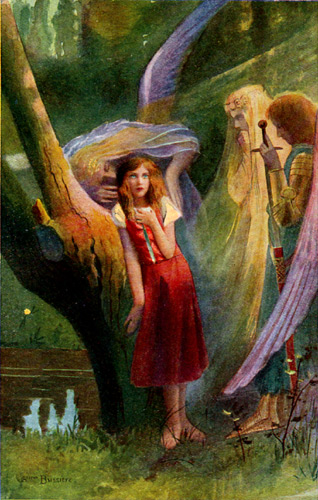Painting of Joan of Arc with her Voices by Gaston Bussiere - Photo courtesy of Virginia Frohlick of the St. Joan of Arc Center