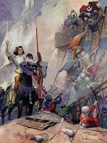 Joan of Arc at Orleans Battle Painting