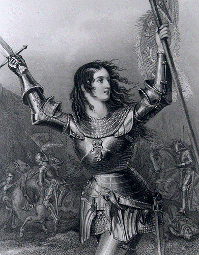 Engraving of Joan of Arc in battle