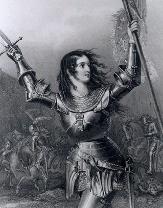 Joan of Arc in armor leading the charge