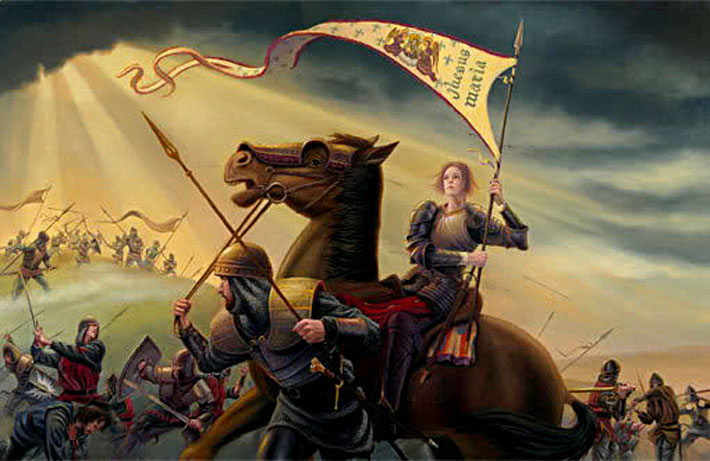 Painting of Joan of Arc in Battle with Banner