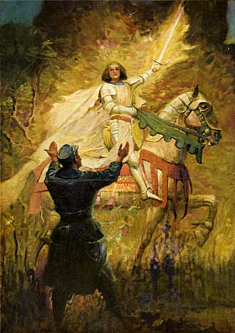 Color drawing of Joan of Arc in book The Boken Soldier and the Maid of France