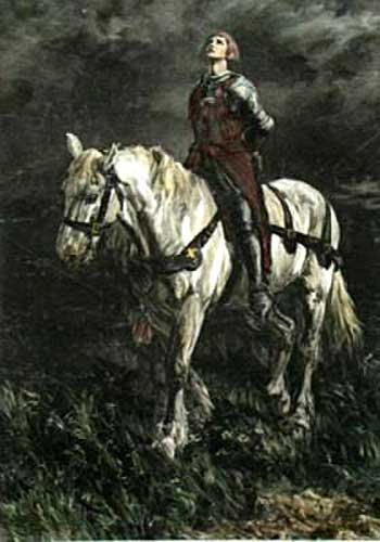 Painting of Joan of Arc as a prisoner on horseback