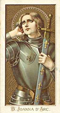 Picture of Holy Card showing Joan of Arc holding her sword