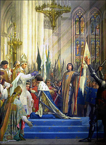 Painting of Joan of Arc being burned at the stake in Rouen
