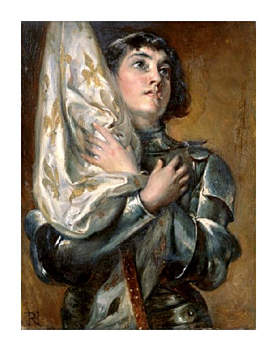 Portrait of Saint Joan of Arc holding her banner across her chest by Robert Alexander Hillingford