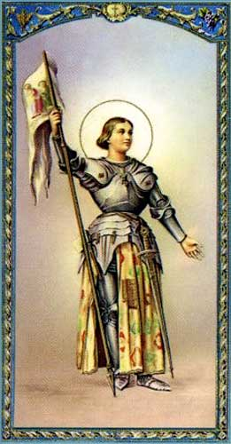 Picture of Holy Card showing Joan of Arc holding her banner