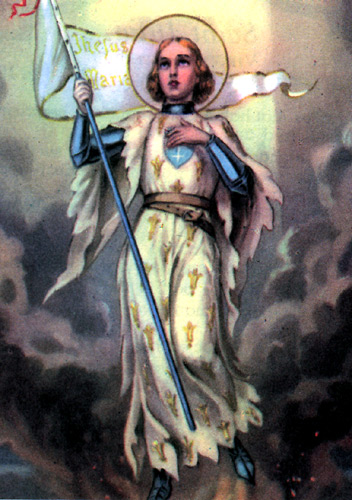 Holy Card of Saint Joan of Arc Rising from the Flames -  Photo courtesy of Virginia Frohlick of the St. Joan of Arc Center