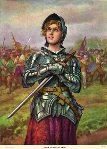 Argentina Holy Card of Joan of Arc Santa Juan de Arc in Battle
