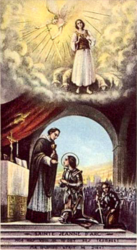Holy Card of Joan of Arc receiving communion