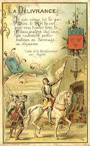 Holy Card of Joan of Arc on horseback with her banner