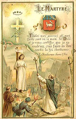Holy Card of Joan of Arc at the stake title The Martyr