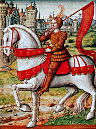 Illustration of Joan of Arc on horseback