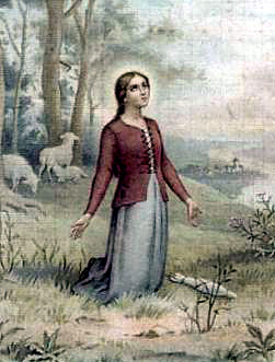 Holy Card showing Joan of Arc as a young women in prayer