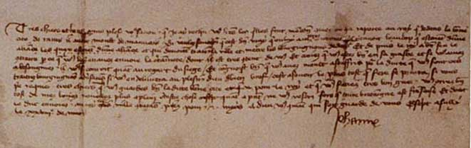Picture of Letter Joan of Arc sent to the city of Reims