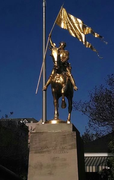 St Joan of Arc Statue in New Orleans - Photo by Fr. Terry Johnston