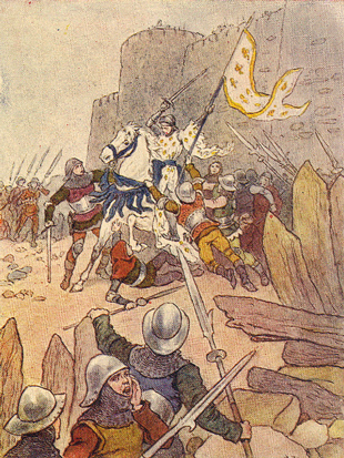 Picture of Joan of Arc being captured at Compi�gne