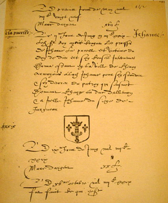 Original document showing coat of arms given to Joan of Arc by Charles VII