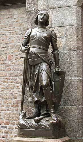 Picture of Statue of Joan of Arc outside a church in France
