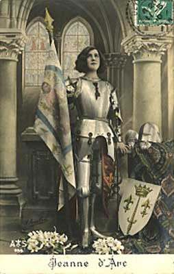 Picture of Postcard showing Joan of Arc with Banner & Shield