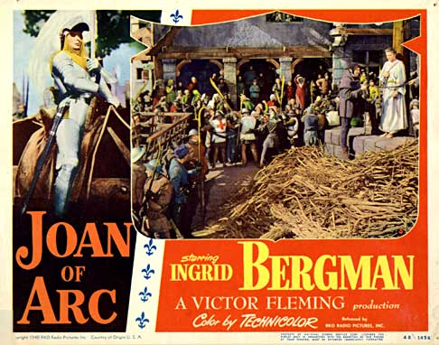 Movie Post for Joan of Arc starring Ingrid Bergman