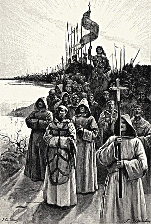 Joan of Arc Leading Her Army with Priests