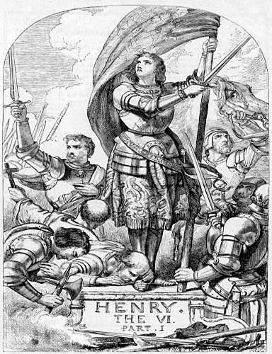Cover for Shakespeare's Henry The VI Part 1 depicting Joan of Arc in battle