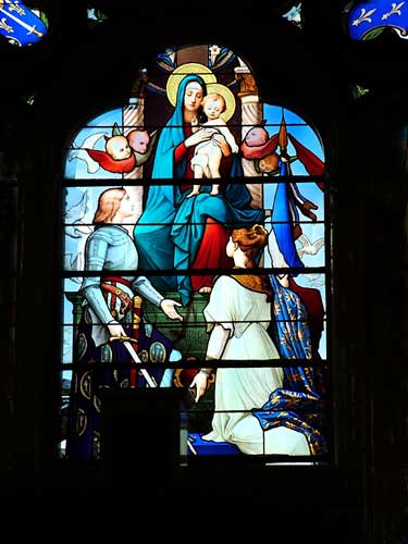 Stained Glass Window of Joan of Arc in Basilica of Joan of Arc near Domremy