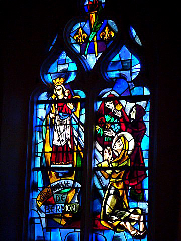 Stained Glass Window of Joan of Arc in Chapel of Bermont near Domremy