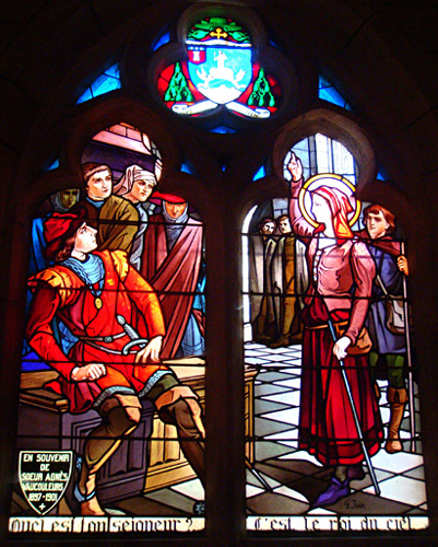 Stained Glass Window of Joan of Arc before Robert de Baudricourt in Vaucouleurs