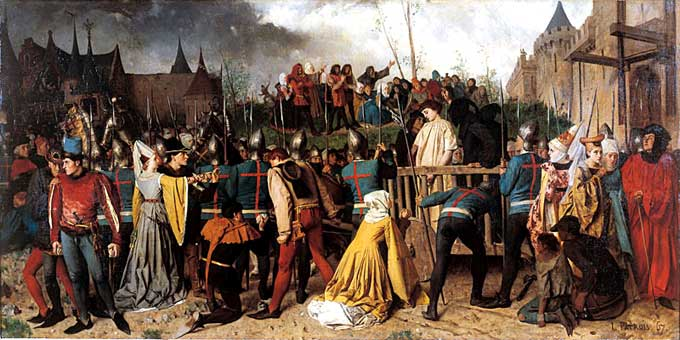 Painting of Joan of Arc led to the Stake by Isidore Patrois