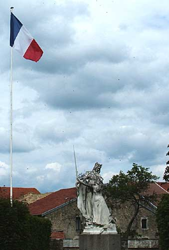 Statue of Joan of Arc with St. Catherine in Domremy