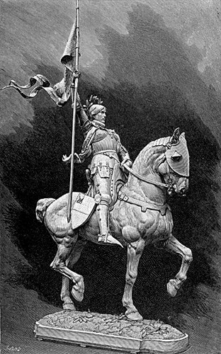 Drawing of the statue by Emmanuel Fremiet of Joan of Arc on Horseback