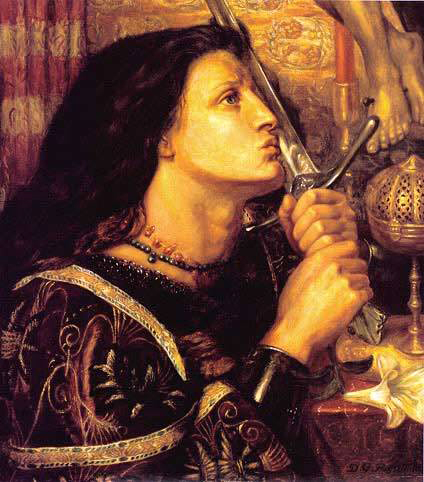 Joan of Arc Kisses the Sword of Liberation by Dante Gabriel Rossetti