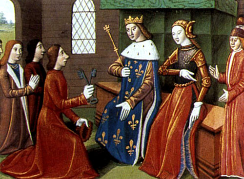 Miniture of Joan of Arc & Charles VII receiving the keys to Troyes