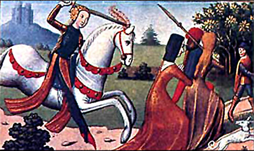 Miniature Portrait of Joan of Arc Chasing Prostitutes from Her Camp