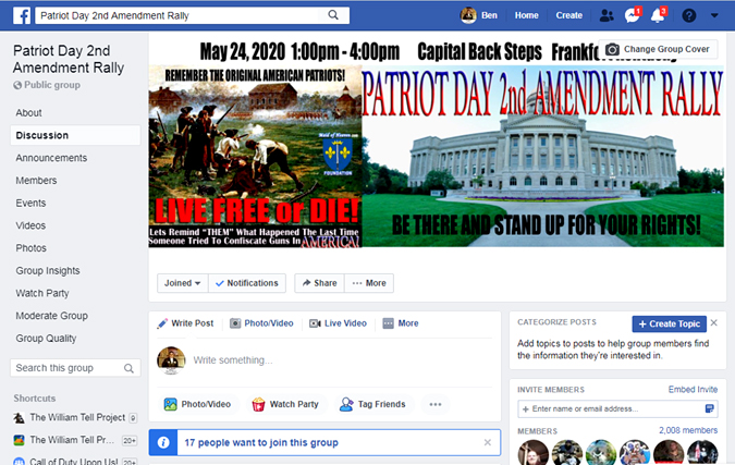 Patriot Day 2nd Amendment Rally Facebook Group