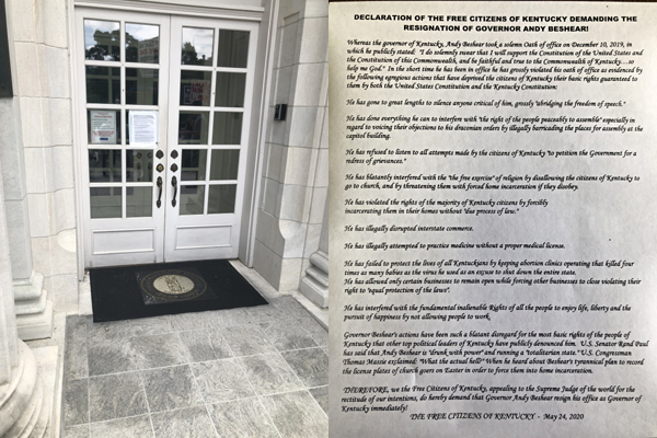 Patriot Declaration on Door of Governor's Mansion