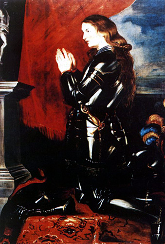 Joan of Arc in armor praying by Peter Paul Rubens
