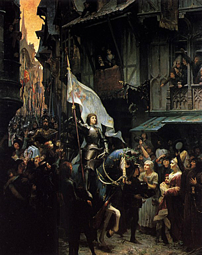 Joan of Arc entering Orleans painting by Jean-Jacques Scherrer