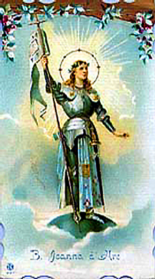 Holy card of Joan of Arc celebrating her canonization as a Saint