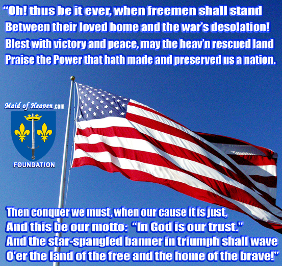 American Flag and Last Stanza of the Star Spangled Banner by Francis Scott Key